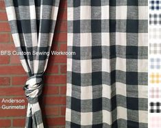 Farmhouse Ticking Stripe Cafe Curtains/Drapes/Valance/Pillow -Overall Buckle Tab Top Colors-Custom Curtains -Ships in Biz Days - gardening supplies Check Curtains, Cafe Curtains, Custom Curtains, Kitchen Curtains, Drapes Curtains, Valance, Camping Blanket, Drapery Hardware, Drapery Panels