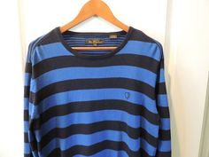 Ben Sherman Designer Super Blue Stripe 100% Cotton Crew Neck Sweater SZ XL Mint #BenSherman #Crewneck