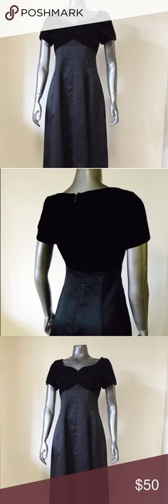 1980's Formal Dress Satin floor length skirt dress with la voure formed bust & heart shape collar. Two tone black on black two texture. Romantic 80's sweet baby doll. Excellent vintage condition! Fits like a size 4, tagged as a 6. Dresses