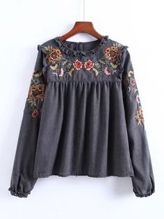 SheIn offers Frill Detail Embroidery Blouse & more to fit your fashionable needs. Ruffle Collar Blouse, Blouse Dress, Embroidered Blouse, Floral Blouse, Grey Blouse, Floral Tops, Printed Blouse, Shirt Embroidery, Embroidery Fashion
