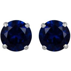 Reeds Created Blue Sapphire Round Solitaire 10kwg Stud Earrings ($116) ❤ liked on Polyvore featuring jewelry, earrings, accessories, brincos, round earrings, stud earrings, reeds jewelers, round stud earrings and blue sapphire stud earrings