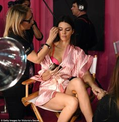 Ready for her close-up: Kendall tapped away on her phone as she head her make-up done and nails filed