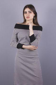 Stretchkleider - NARA® Kleid mit Hahnentritt Muster - ein Designerstück von Berlinerfashion bei DaWanda