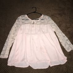 Lace and sheer top Perfect condition, pink lace and sheer top. Tops Blouses