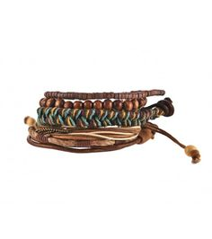 Brown woven chain bracelet mix pack - £6.99