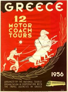 Photograph-Poster advertising motor coach tours in Greece-Photograph printed in the USA