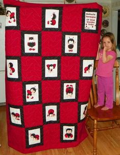 Ladybug Capers Quilt by Rebecca Scobee from Kansas, USA .  I made this quilt for my Great Granddaughter Remington and she loves it. I made all 10 and then mirrored 4 of them and then the 15 block has who it is for and made by me.  http://www.astitchahalf.com/sewyouknow/category/customer-projects/