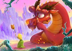 Red dragon and princess green by Aekkarat Sumutchaya Princess Illustration, Cute Illustration, Digital Illustration, Magical Creatures, Fantasy Creatures, Westerns, Pet Monsters, Dragon Princess, Digital Art Gallery