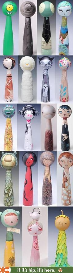 100 Artist Designed Kokeshi Dolls by roseann