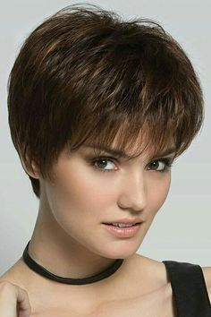 Scape by Ellen Wille Wigs - Hand Tied Monofilament Crown Lace Front Wig - August 10 2019 at Short Hairstyles For Thick Hair, Short Hair With Layers, Short Pixie Haircuts, Short Hair Cuts For Women, Pixie Hairstyles, Curly Hair Styles, Natural Hair Styles, Hairstyles 2016, Pixie Styles