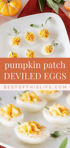 Celebrate World Egg Day on October 9th with adorable pumpkin patch deviled eggs! #WorldEggDay #sponsored #deviledeggs Delicious Desserts, Dessert Recipes, Yummy Food, Drink Recipes, Good Healthy Recipes, Free Recipes, Fall Appetizers, How To Make Pumpkin, Canadian Food
