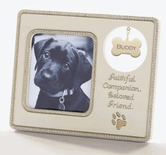 "Dog Memorial Frame Sympathy Gift - ""Faithful Companion, Beloved Friend"".  Includes area to attach pet's tag."