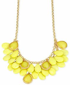 Haskell Gold-Tone Yellow Teardrop Accent Frontal Necklace - Fashion Necklaces - Jewelry & Watches - Macy's