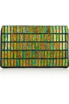 Stella McCartney Oversized faux leather and acetate clutch
