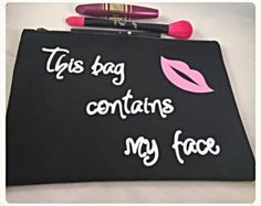 Large Make Up Bag Better Late Than Ugly Funny by TayloredGiftsShop