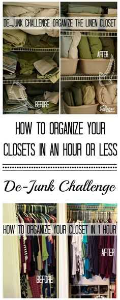 De-Junk Challenge - How to Organize Your Closets in 1 Hour or Less!
