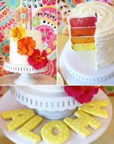 :. Luau party .: got your leis?....with different colors! Cute baby shower cake