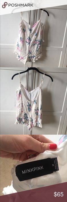 Mink pink romper Super cute mink pink romper worn once - wrinkled from being packed away with summer clothes MINKPINK Dresses