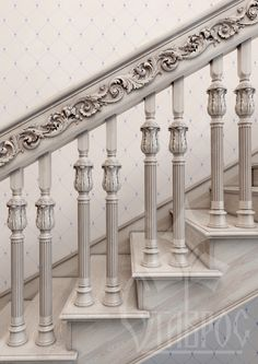 Wooden Staircase Railing, Wooden Stairs, Banisters, Railing Design, Staircase Design, Interior Design Ornaments, Indoor Railing, Decorative Brackets, Beautiful Stairs