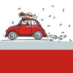 Tomaat rode Fiat 500 met bruidspaar