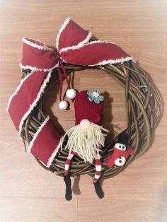 wreath - christmas - gnome snowman wreath - homemade