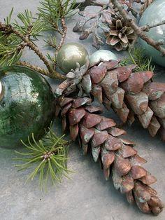 Pinecones for Christmas decor_ Christmas Time Is Here, Christmas Mood, Merry Little Christmas, Green Christmas, Christmas Colors, Woodland Christmas, Rustic Christmas, Vintage Christmas, Natural Christmas