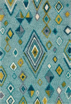 Loloi Kalliope Aqua/Teal Area Rug-Inspired by old Ben Ourian rugs, we've collaborated with Designer Justina Blakeney to transform the look with her signature 'Jungalow' style. The result is a series of wild patterns and statement-making colors; Teal Rug, Teal Area Rug, Justina Blakeney, Cheap Rugs, Rugs Online, Modern Rugs, Rug Size, Kids Rugs, Aqua