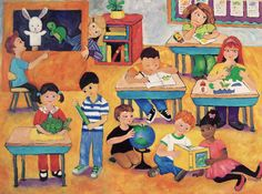 Little Learners~Peggy Johnson classroom children school painting giclee art  at everygoodcolor on Etsy! http://www.etsy.com/shop/everygoodcolor