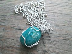 Chrysocolla Necklace  Wire Wrapped Stone  Healing by EarthChildArt