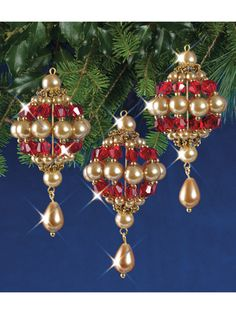 Mary Maxim - Ruby and Gold Baroque Drops Beaded Ornament Kit - Beaded Kits & Ornaments - Crafts Beaded Christmas Decorations, Beaded Ornaments, Diy Christmas Ornaments, Tree Decorations, Felt Christmas, Christmas Ideas, Christmas Pictures, Homemade Christmas, Glass Ornaments