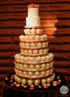 Rose Wedding Cupcake Cake Tower by Pink Cake Box in Denville, NJ. More photos at http://blog.pinkcakebox.com/rose-wedding-cupcake-tower-2010-05-02.htm #cakes