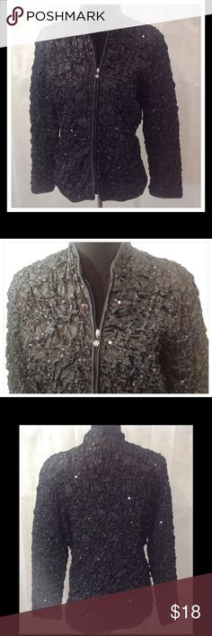 Black Sequin Blazer Black sequin blazer has gathered fabric design throughout. It's a soft satin finished polyester (100%) fabric. Zipper has rhinestone pull tab. Dry clean. Jackets & Coats Blazers