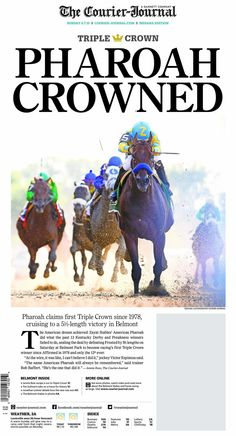 Sunday's front page in Louisville, Kentucky.  http://socalfair.com/track-betting/  #wagering #offtrackbetting #horseracing
