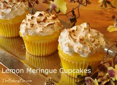 Lemon Merinuge Cupcakes Recipe - TheBakingPan.com  3 layers of yellow sunshine in each luscious bite, with a bright burst of sweet-tart lemon curd sandwiched between a fresh lemon cake and Italian meringue. Add a sprinkle of confectioners' sugar on top of the meringue before browning for a little extra crunch