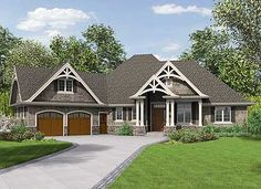 Office plus bonus room/ 3 Bedroom Craftsman Home Plan. Living areas just need to be larger. Love style of  outside