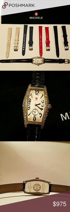 Authentic MICHELE WATCH If you love these MICHELE watches, this is the one to own. EUC everything in tacked. Comes with 5 exchangeable bands. Three leather, one denim and one nylon. No missing stones or scratches on face. Absolutely Beautiful Set. MICHELE Jewelry