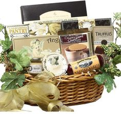 Mother's Day gift baskets, Mothers Day gift basket, Mother's Day gift ideas, Wine Cheese Spread, Salami, Double Chocolate Raspberry Cake, Sweet Butter Cookies, Chocolate Silk Crunch Cookie, Godiva Gems Assorted Chocolates. $39.92  http://www.oldtimechocolates.com/store/mothers-day-gift-baskets/art-of-appreciation-grand-edition-gourmet-food-and-snacks-gift-basket-medium-777700000088559/