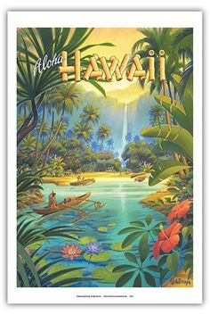 Aloha Hawaii Vintage Style Hawaiian Travel Poster by Kerne Erickson Master Art Print 12 x * Check this awesome product by going to the link at the image. (This is an affiliate link) Vintage Travel Posters, Vintage Postcards, Retro Kunst, Illustrations Vintage, Hawaiian Art, Vintage Hawaiian, Hawaiian Tattoo, Hawaiian Tribal, Foto Transfer