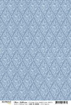 Reprint - BasicA4 - Vintage Blue Medallions - RBC071 - köp det på Pema wallpaper . ..♥.Nims.♥