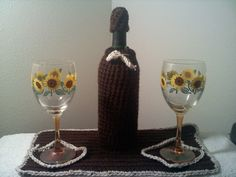 Crocheted Wine Cozy and Place Setting by steveross4 on Etsy, $18.00
