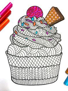 Cupcake  PDF Zentangle Coloring Page by DJPenscript on Etsy