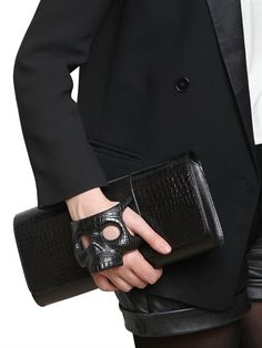 PERRIN PARIS PLAN B CROCODILE GLOVE-INSPIRED CLUTCH