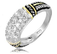 7/20/2012  $4.99  + FREE SHIPPING Embedded Crystal Design Two-Toned Brass Rhodium-Plated Ring