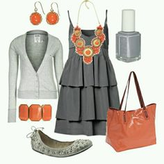 Coral and Gray. Perfect for fall in Florida!