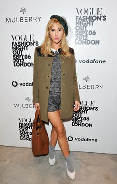 Suki Waterhouse does sexy schoolgirl well at a Mulberry event last year in London // Style Recipe: What You Need To Steal Suki Waterhouse's Look