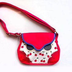 Sling Purse  Hoot The Owl Sling Purse Red by littleoddforest
