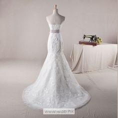 Strapless Trumpet / Mermaid Tulle wedding dress