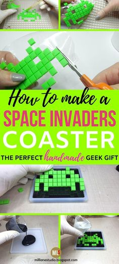 What a great DIY for geeks - Space Invader pixel characters resin coasters that you can make yourself! And you won't believe what they use to create the resin pixels with. You've got to check it out!  #MillLaneStudio #pixelcraftsideas #diyresincoasters #geekstuff #geekcrafts Diy Resin Coasters, Drink Coasters, Diy Christmas Earrings, Christmas Diy, Diy Gifts, Handmade Gifts, Novelty Gifts For Men, Pixel Characters, Beaded Spiders