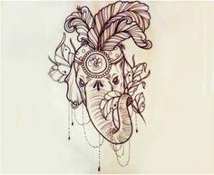 ornate elephant tattoo (flowers)