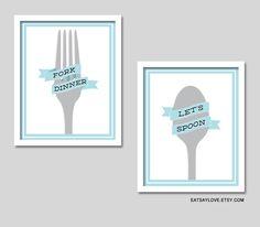 Utensil art Fork art spoon art lets spoon kitchen by EatSayLove, $30.00